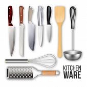 Different Knives And Cook Kitchen Ware Set Vector. Wooden Scapula, Grater, Manual Mixer And Metal La poster