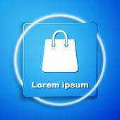White Handbag Icon Isolated On Blue Background. Shoping Bag Sign. Woman Bag Icon. Female Handbag Sig poster