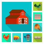 Isolated Object Of Countryside And Plant Symbol. Set Of Countryside And Farming Stock Symbol For Web poster