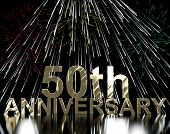 foto of 50th  - Gold 50th Anniversary With Fireworks For Celebration Or Parties - JPG