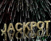 Jackpot Word With Fireworks Showing Gambling Or Winning