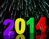 2014 Numbers With Fireworks Representing Year Two Thousand And Fourteen