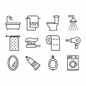 Set Of Vector Icons Of Bathroom. Bathroom Accessories Outline Icons. Bathroom Furniture Outline Icon poster