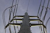 Power Pole And Line View From Below