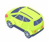 Car With Ordinary Design, Isolated 3d Green Car Ecological Way Of Transportation, Isometric Transpor poster