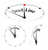 White clock with word Deadline on its face