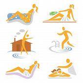 Spa wellness sauna icons