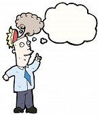 cartoon overheated brain man