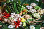 Herbs And Spices Ingredients Spicy Soup Fresh Vegetables For Tom Yum Thai With Lemon Grass Garlic Ga poster