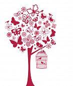 Árvore de borboletas e pássaros (elementos todos separados)