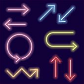 Arrow Icon Set With Neon Glow Effect Isolated White Background,arrow Bright Neon Sign,colorful Billb poster