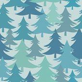 Winter Fir Trees  Christmas Trees Seamless Pattern, Winter Forest Surface Pattern, Fir Trees Vector  poster