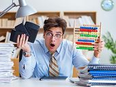 Funny accountant bookkeeper working in the office poster
