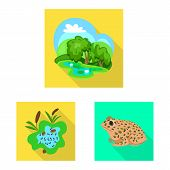 Vector Illustration Of Wildlife And Bog Sign. Collection Of Wildlife And Reptile Stock Symbol For We poster