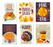 Thanksgiving Day Cards. Set Of Six Vertical Card Posters Thanksgiving Day Cartoon Style Isolated Obj poster