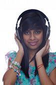 Teenage Girl Listens To Music