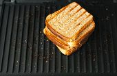 4 Slices Toasted Bread Grilled. Crispy Toasted Bread. White Bread On A Hot Grill. poster