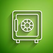 White Line Safe Icon Isolated On Green Background. The Door Safe A Bank Vault With A Combination Loc poster