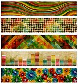 Set Of Abstract Retro Backgrounds