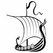 Viking Ship Sailing. Drakkar With A Dragons Head. Warship Of The Vikings poster