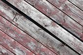 Red-gray Wooden Background. Horizontal Boards. Old Paint Peels Off. Old Boards. Red Gray Wood Textur poster