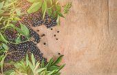 Clusters Fruit Black Elderberry On A Wooden Background (sambucus Nigra). Elder, Black Elder. Europea poster