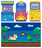 Duel Of Unicorn And Dragon With Fire, Dark View And Green Nature. Game Machine Set, Old Video-game,  poster