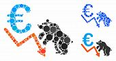 Euro Bear Stock Trend Composition For Euro Bear Stock Trend Icon Of Small Circles In Different Sizes poster