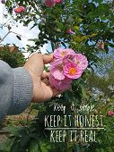 Inspirational Motivational Quote - Keep It Simple. Keep It Honest. Keep It Real. With Young Woman Ha poster
