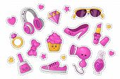 Cute Cartoon Sticker Set With Kawaii Girls Accessory And Cosmetics, Fashion Things - Pink Lipstick,  poster