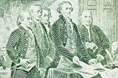 Macro of US two dollar bill.  Jefferson, Franklin, Adams and other Colonials presenting the Declarat