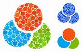 Rgb Color Circles Mosaic For Rgb Color Circles Icon Of Small Circles In Various Sizes And Shades. Ve poster