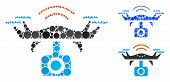Spy Drone Mosaic For Spy Drone Icon Of Filled Circles In Different Sizes And Color Hues. Vector Fill poster
