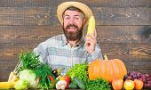 Farmer With Organic Homegrown Vegetables. Grow Organic Crops. Community Gardens And Farms. Healthy L poster