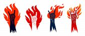 Rock Hand Sign On Fire Set, Hot Music Rock And Roll Gesture In Flames, Hard Rock Festival Concert Or poster