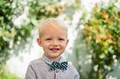 Happy Child Partrait. Boy Cute Playful Cheerful Child Funny Grimace Face. Carefree Child. Little Chi poster