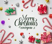 Christmas Vector Background Design. Merry Christmas Everyone Greeting Text With Colorful Decoration  poster