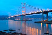 stock photo of tsing ma bridge  - Tsing ma bridge sunset - JPG