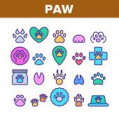 Paw Animal Collection Elements Icons Set Vector Thin Line. Cat And Dog, Horse And Pig, Elephant And  poster