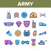 Army Military Collection Elements Icons Set Vector Thin Line. Medal And Shield, Truck And Tank, Targ poster