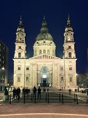 St. Stephen Basilica by night in Budapest, Hungary