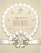 Parabéns de casamento ou convite com rosas brancas
