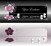 Banners de rótulos exclusivos, com flor de violeta e rosa e pérolas