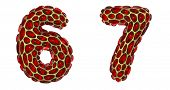 Number set 6, 7 made of realistic 3d render golden shining metallic. Collection of gold shining meta poster