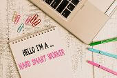 Handwriting Text Hello I M A Hard Smart Worker. Concept Meaning Intelligence At Your Job Fast Clever poster