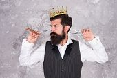 He Knows Formula For Success. Bearded Man Wear Crown On Abstract Background. Successful Barber Enjoy poster