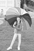Little Girl Under Umbrella. Rainbow After Rain. Optimist And Cheerful. Spring Style. Positive Mood I poster