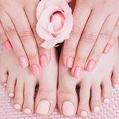 Nail Studio. Foot Care. Manicure Pedicure. Female Hands Feet. Peach Color Polish. poster