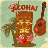 stock photo of ukulele  - Vintage Hawaiian postcard  - JPG