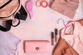 Set Of Stylish Clothes, Collage Of Womens Clothing. Summer Or Autumn Accessories, Pink Backpack, Jac poster